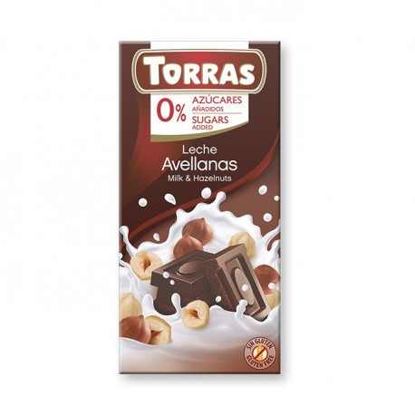 Chocolat lait noisettes sans sucre Torras 75 g
